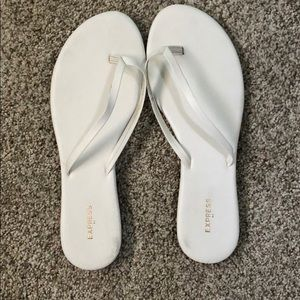 White Express Leather Flip Flops
